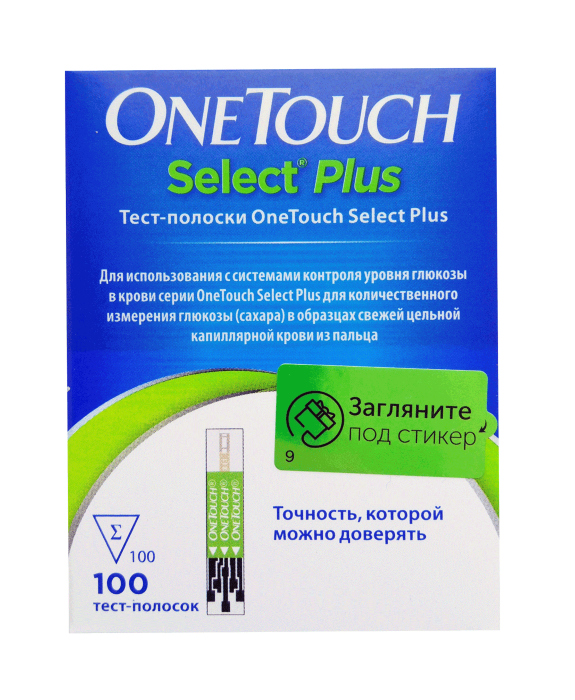 тест полоски УанТач Селект Плюс №100 (OneTouch Select Plus)